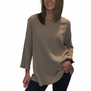 BRYN WALKER Taupe Gauze Popover Tunic Top XS